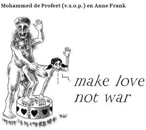Uno de los polémicos dibujos de Gregorius Nekschot. Los protagonistas son un supuesto Mahoma con Ana Frank.